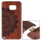 For Galaxy Note 5 8 Petals Flower Pattern Separable Rosewood Wooden Case