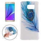 For Galaxy Note 5 Ultrathin Blue Feather Pattern TPU Protective Case
