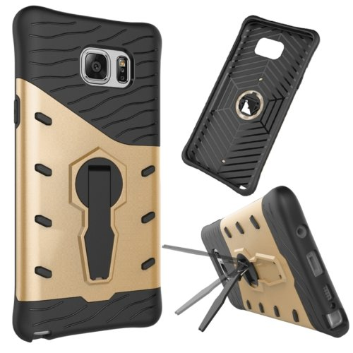 For Galaxy Note 5 Gold Rotating Tough Armor TPU+PC Case with Holder