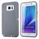 For Galaxy Note 5 Grey+White Hybrid TPU Bumper PC Combination Case
