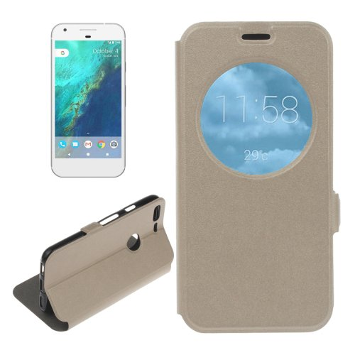 For Google Pixel Gold Flip Leather Case with Call Display ID & Holder