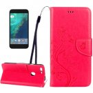 For Google Pixel XL Magenta Leather Case with Holder, Card Slots & Wallet
