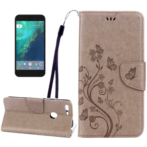 For Google Pixel XL L Brown Leather Case with Holder, Card Slots & Wallet