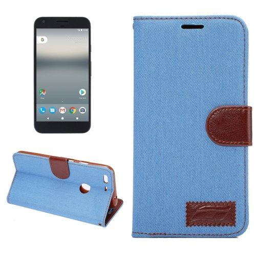 For Google Pixel XL Blue Denim Leather Case with Holder & Card Slots