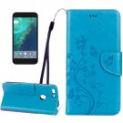 For Google Pixel Blue Leather Case with Holder, Card Slots & Wallet