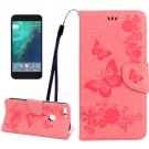 For Google Pixel XL Pink BFly Leather Case with Holder, Card Slots & Wallet