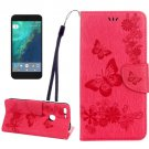 For Google Pixel XL Magenta BFly Leather Case with Holder, Card Slots & Wallet