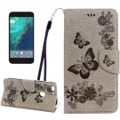 For Google Pixel Grey Butterfly Leather Case with Holder, Card Slots & Wallet