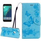 For Google Pixel Blue Butterfly Leather Case with Holder, Card Slots & Wallet