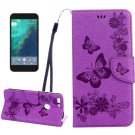 For Google Pixel Purple Butterfly Leather Case with Holder, Card Slots & Wallet
