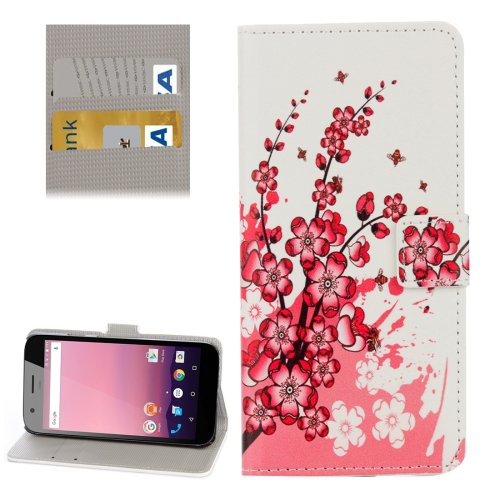 For Google Pixel XL Plum Pattern Leather Case with Holder, Card Slots & Wallet