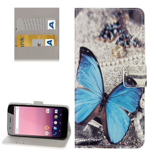 For Google Pixel XL Butterfly Pattern Leather Case with Holder, Card Slots & Wallet