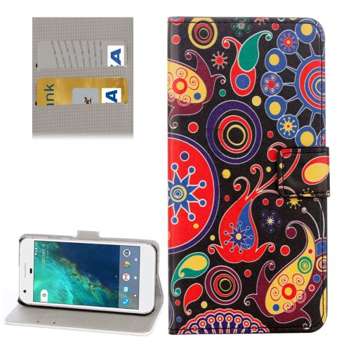 For Google Pixel Acaleph Pattern Leather Case with Holder, Card Slots & Wallet