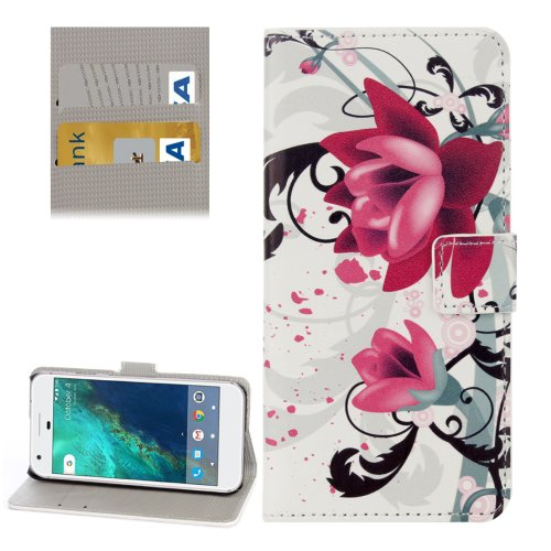 For Google Pixel Lotus Pattern Leather Case with Holder, Card Slots & Wallet