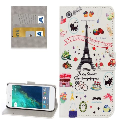 For Google Pixel Cartoon Pattern Leather Case with Holder, Card Slots & Wallet