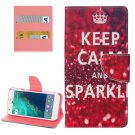 For Google Pixel Sparkle Pattern Leather Case with Holder, Card Slots & Wallet