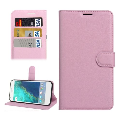 For Google Pixel XL Pink Litchi Leather Case with Holder, Card Slots & Wallet