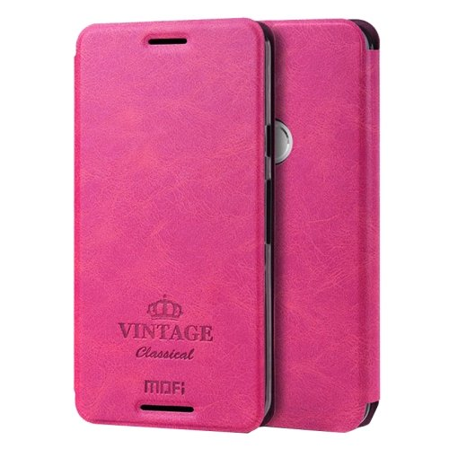 For Nexus 6P Magenta Mofi Vintage Leather Case with Holder, Card Slots & Wallet