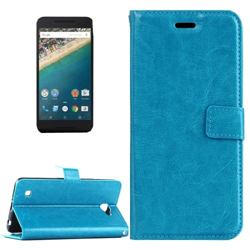 For Nexus 5X Blue Crazy Horse Leather Case with Holder, Card Slots & Wallet