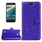 For Nexus 5X Purple Crazy Horse Leather Case with Holder, Card Slots & Wallet