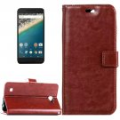 For Nexus 5X Brown Crazy Horse Leather Case with Holder, Card Slots & Wallet