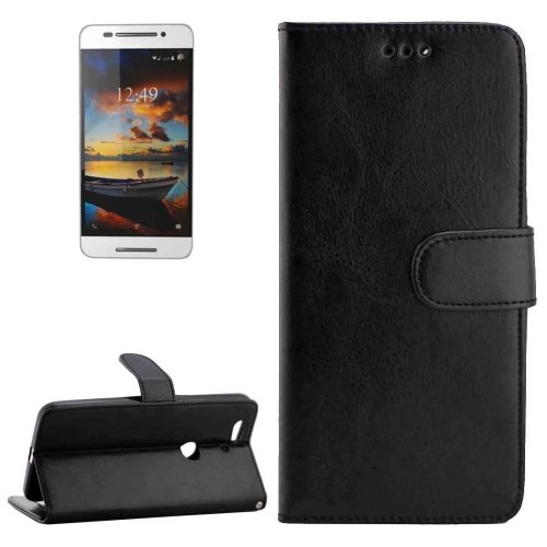For Nexus 6P Black Crazy Horse Leather Case with Holder, Card Slots & Wallet