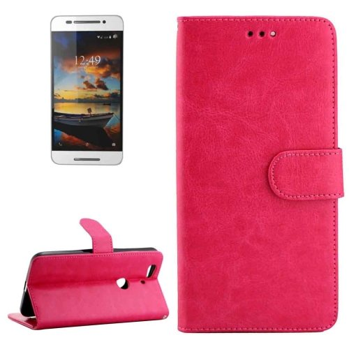 For Nexus 6P Magenta Crazy Horse Leather Case with Holder, Card Slots & Wallet