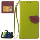 For Nexus 6P Green Litchi Leaf Leather Case with Holder, Card Slots & Wallet