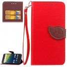 For Nexus 6P Red Litchi Leaf Leather Case with Holder, Card Slots & Wallet