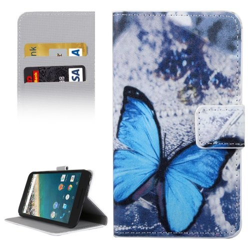 For Nexus 5X Butterfly Pattern Leather Case with Holder, Card Slots & Wallet