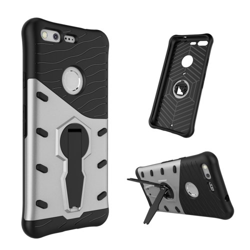 For Google Pixel Grey Rotating Tough Armor TPU+PC Case with Holder