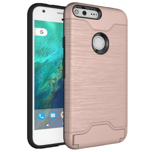 For Google Pixel Rose Gold Brushed TPU+PC Case with Holder & Card Slots