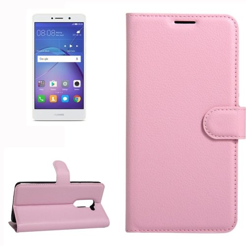 For Huawei Mate 9 Lite Pink Leather Case with Holder, Card Slots & Wallet
