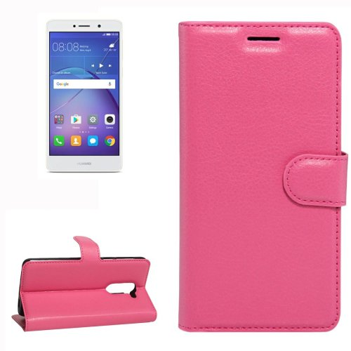 For Huawei Mate 9 Lite Magenta Leather Case with Holder, Card Slots & Wallet