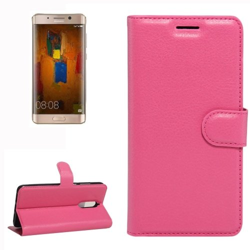 For Huawei Mate 9 Pro Magenta Leather Case with Holder, Card Slots & Wallet