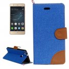 For Huawei P9 Lite Denim Dark Blue Leather Case with Holder & Card Slots