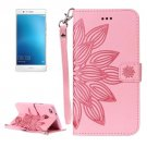 For Huawei P9 Lite Pink Leather Case with Holder, Card Slots & Wallet