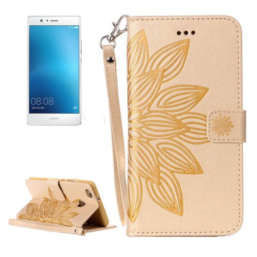 For Huawei P9 Lite Gold Leather Case with Holder, Card Slots & Wallet