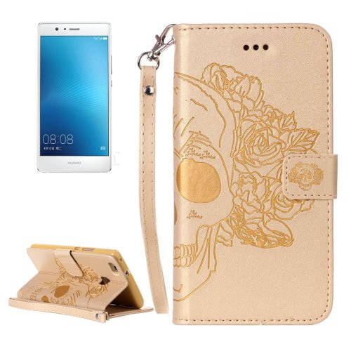 For Huawei P9 Lite Gold Skull Leather Case with Holder, Card Slots & Wallet