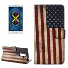 For Honor 6X US Flag Pattern Leather Case with Holder, Card Slots & Wallet