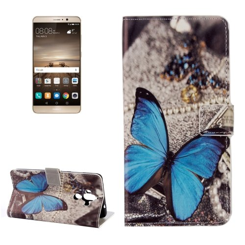 For Huawei Mate 9 Butterfly Leather Case with Holder, Card Slots & Wallet