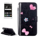 For Huawei P9 Black Flowers Leather Case with Holder, Card Slots & Wallet
