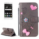 For Huawei P9 Grey Flowers Leather Case with Holder, Card Slots & Wallet