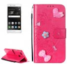 For Huawei P9 Magenta Flowers Leather Case with Holder, Card Slots & Wallet
