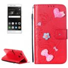 For Huawei P9 Red Flowers Leather Case with Holder, Card Slots & Wallet