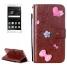 For Huawei P9 Brown Flowers Leather Case with Holder, Card Slots & Wallet