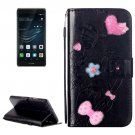 For Huawei P9 Plus Black Flowers Leather Case with Holder, Card Slots & Wallet