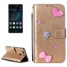 For Huawei P9 Plus Gold Flowers Leather Case with Holder, Card Slots & Wallet