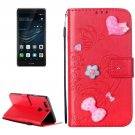For Huawei P9 Plus Red Flowers Leather Case with Holder, Card Slots & Wallet