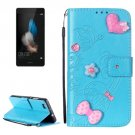 For Huawei P8 Lite Blue Flowers Leather Case with Holder, Card Slots & Wallet